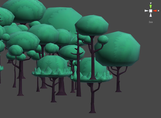 an assembly of background trees for the third level