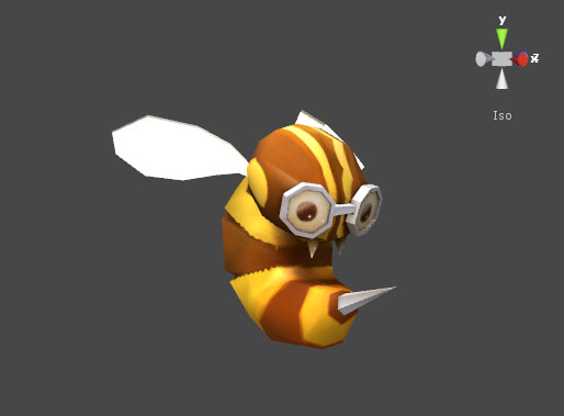 the model of a bee character for the third level
